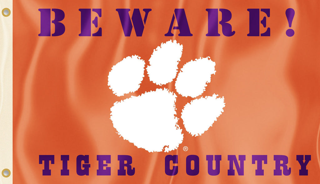 Clemson Tigers 3' x 5' Flag (Beware Tiger Country) NCAA