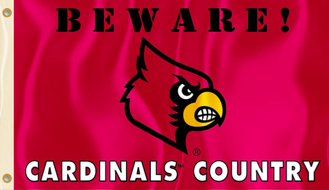 Louisville Cardinals 3' x 5' Flag (Beware Cardinals Country) NCAA
