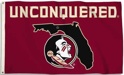 Florida State Seminoles 3' x 5' Flag (State Outline UNCONQUERED) NCAA
