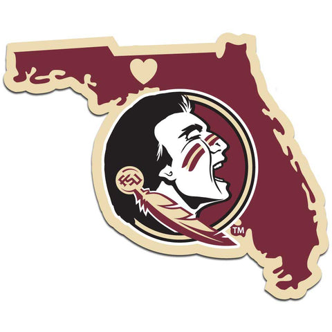 Florida State Seminoles Home State Vinyl Auto Decal (NCAA) Florida Shape