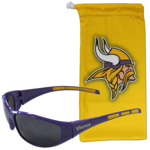 Minnesota Vikings Wrap Sunglasses with Microfiber Bag (NFL)