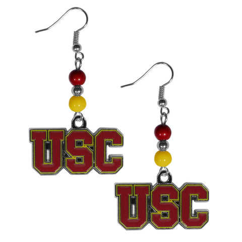 USC Trojans Dangle Earrings (Fan Bead) NCAA