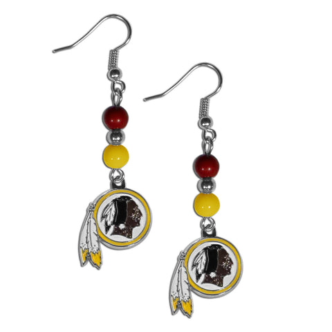Washington Redskins Dangle Earrings (Fan Bead) NFL