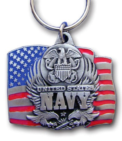 U.S. Navy Metal Key Chain with Enameled 3-D Detail United States Flag