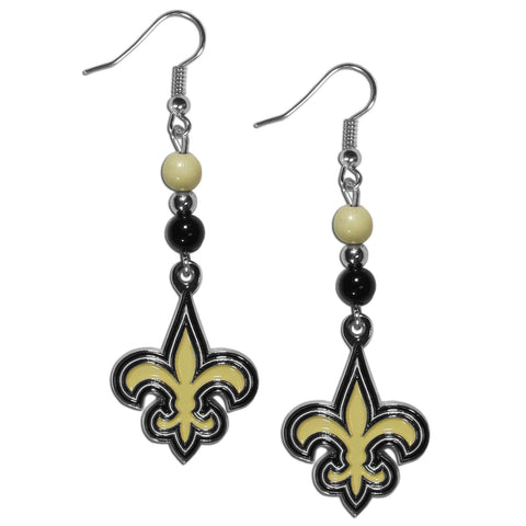 New Orleans Saints Dangle Earrings (Fan Bead) NFL