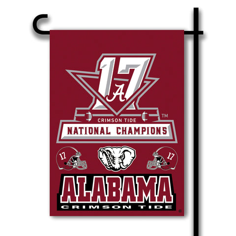 "Alabama Crimson Tide 13"" x 18"" Two Sided Garden Flag (2017 National Champions) NCAA"