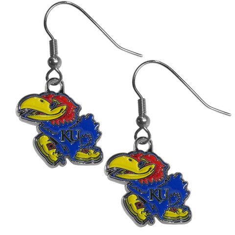 Kansas Jayhawks Dangle Earrings (Chrome) NCAA