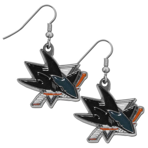 San Jose Sharks Dangle Earrings (Chrome) NHL Hockey