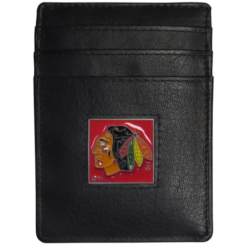 Chicago Blackhawks Leather Money Clip/Cardholder Packaged in Gift Box NHL