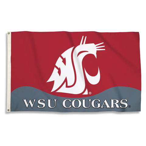 Washington State Cougars 3' x 5' Flag (Logo with Wordmark) NCAA