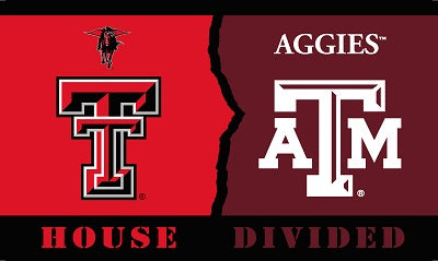 Texas A&M Aggies Texas Tech Red Raiders 3' x 5' House Divided Flag NCAA NEW Logo