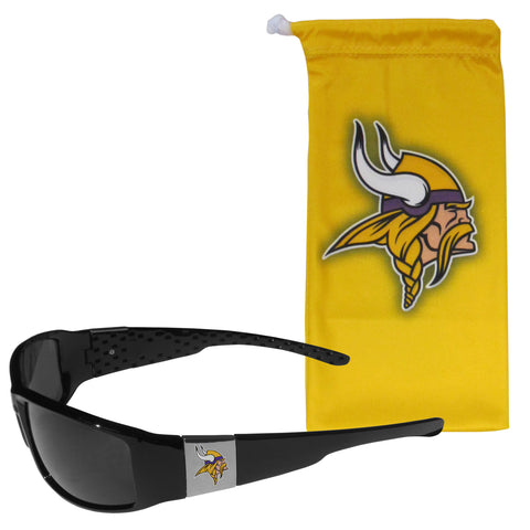 Minnesota Vikings Chrome Wrap Sunglasses with Microfiber Bag (NFL)
