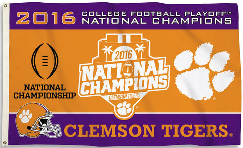 Clemson Tigers 3' x 5' Flag (2016 National Champions) NCAA