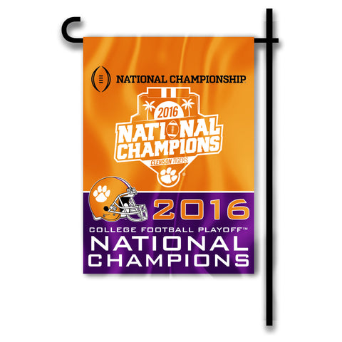 "Clemson Tigers 13"" x 18"" Two Sided Garden Flag (2016 National Champions) NCAA"