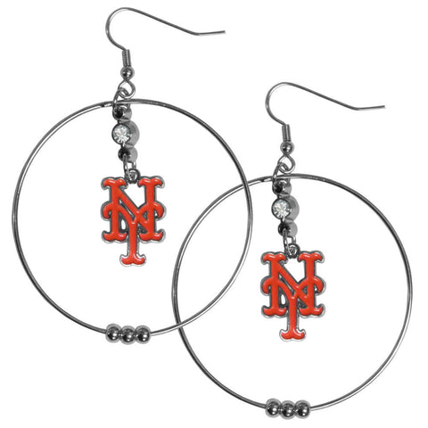 New York Mets 2 inch Hoop Earrings MLB Licensed Baseball Jewelry