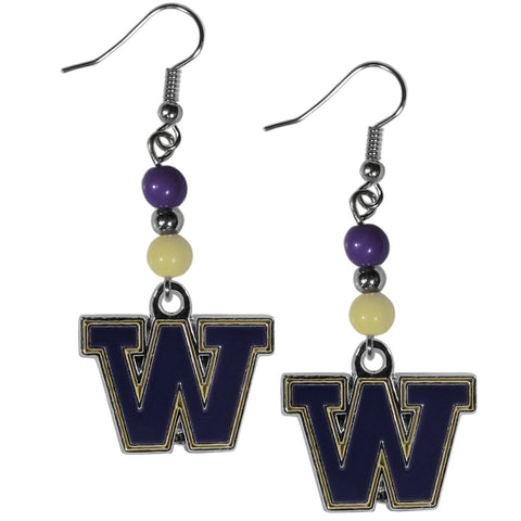 Washington Huskies Dangle Earrings (Fan Bead) NCAA