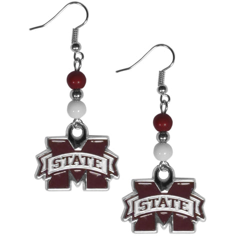 Mississippi State Bulldogs Dangle Earrings (Fan Bead) NCAA