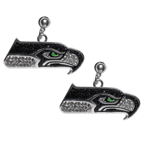 Seattle Seahawks Crystal Stud Earrings NFL Football