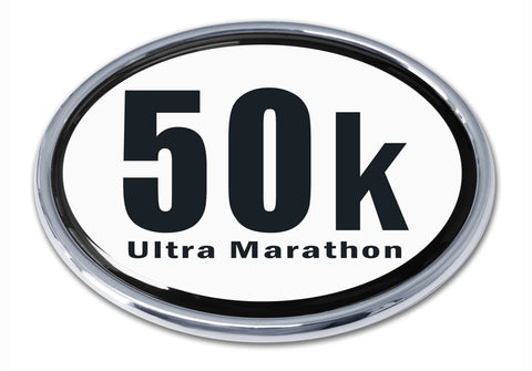 50k Ultra Marathon Oval Chrome Metal Auto Emblem