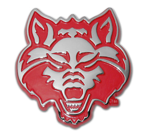 Arkansas State Red Wolves Chrome Metal Auto Emblem Decal (Wolf w/ Red) NCAA