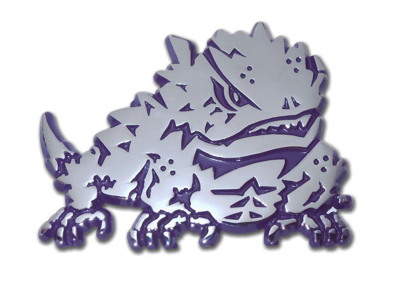TCU Horned Frogs Chrome Metal Auto Emblem (Purple Horned Frog) NCAA