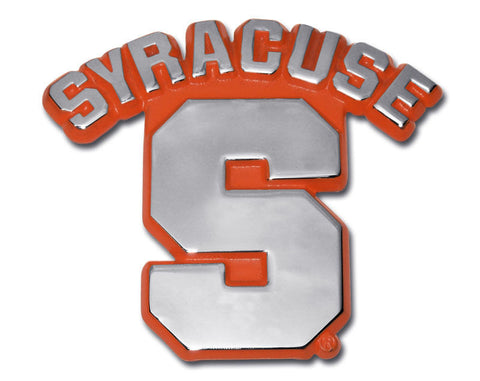 "Syracuse Orange Chrome Metal Auto Emblem (Orange ""S"") NCAA"
