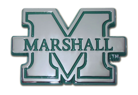 Marshall Thundering Herd Chrome Metal Auto Emblem (Green Banner) NCAA