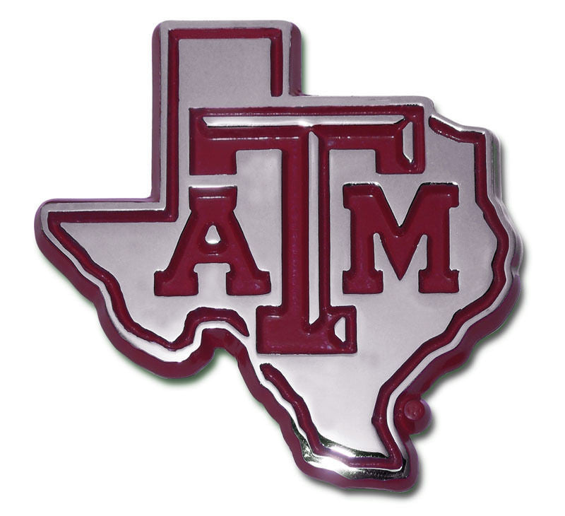 Texas A&M Aggies Chrome Metal Auto Emblem (Texas Shape w/ Maroon) NCAA