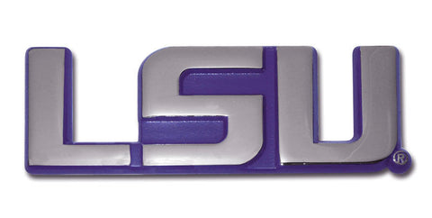 "LSU Tigers Chrome Metal Auto Emblem (""LSU"" with Purple) NCAA"