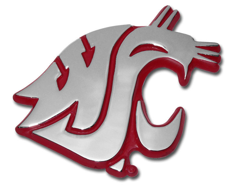 Washington State Cougars Chrome Metal Auto Emblem (Crimson) NCAA