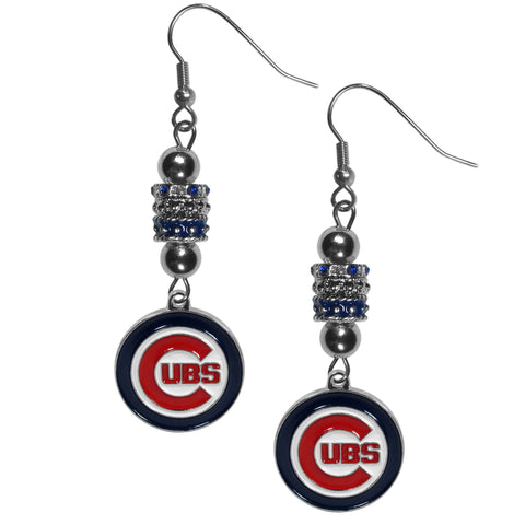 Chicago Cubs Dangle Earrings (Euro Bead) MLB
