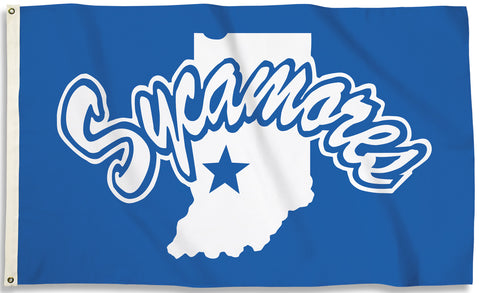 Indiana State Sycamores 3' x 5' Flag (Logo Only on Blue) NCAA