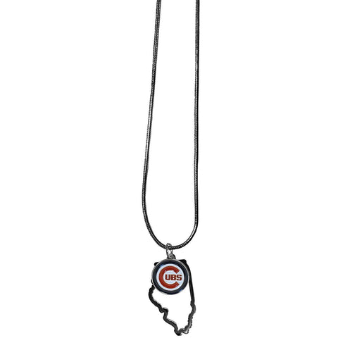 Chicago Cubs State Shape Charm w/ Team Logo Chain Necklace MLB Licensed Jewelry