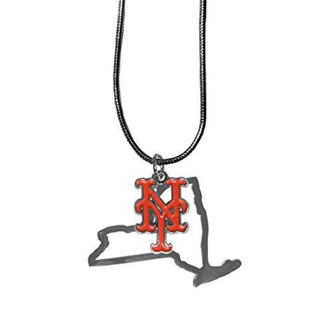 New York Mets State Shape Charm w/ Team Logo Chain Necklace MLB Licensed Jewelry