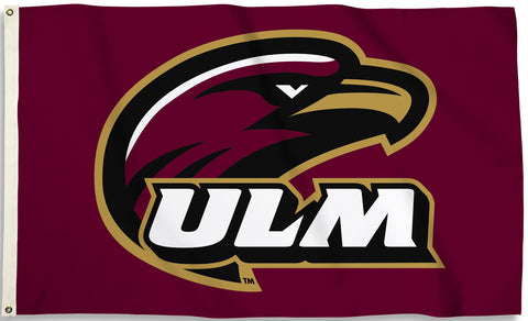 "Louisiana Monroe Warhawks 3' x 5' Flag (""ULM"" Logo on Maroon) NCAA"