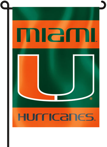 "Miami Hurricanes 13"" x 18"" Two Sided Garden Flag NCAA"