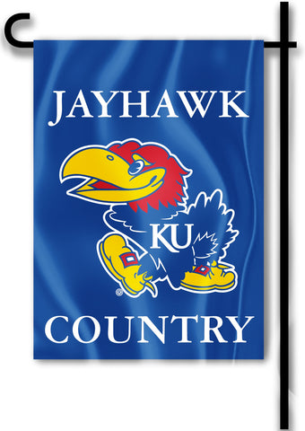 "Kansas Jayhawks 13"" x 18"" Two Sided Garden Flag (Jayhawk Country) NCAA"