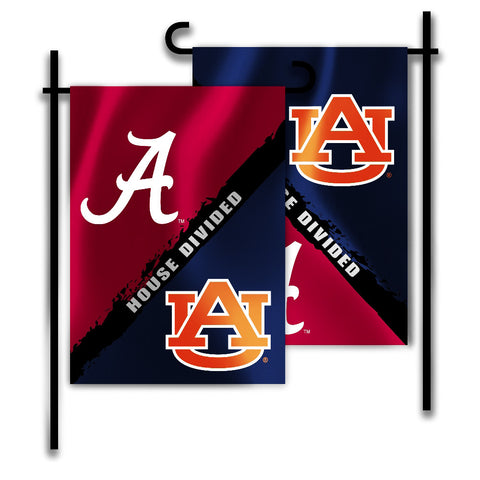 "Alabama Crimson Tide Auburn Tigers 13"" x 18"" Two Sided House Divided Garden Flag NCAA"