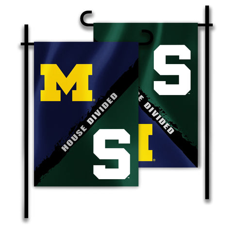 "Michigan Wolverines Michigan State Spartans 13"" x 18"" Two Sided House Divided Garden Flag NCAA"
