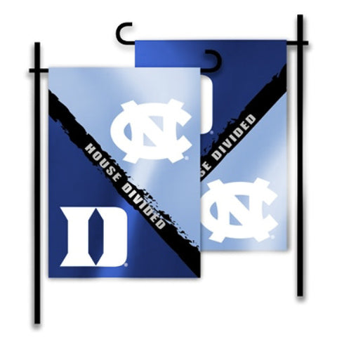 "Duke Blue Devils North Carolina Tar Heels 13"" x 18"" Two Sided House Divided Garden Flag"