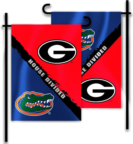 "Florida Gators Georgia Bulldogs 13"" x 18"" Two Sided House Divided Garden Flag NCAA"