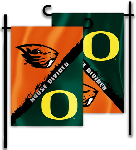 "Oregon Ducks Oregon State Beavers 13"" x 18"" Two Sided House Divided Garden Flag NCAA"