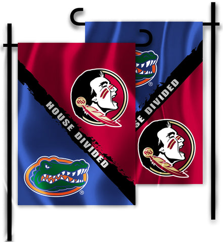 "Florida Gators Florida State Seminoles 13"" x 18"" Two Sided House Divided Garden Flag NCAA"