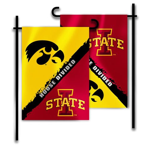"Iowa Hawkeyes Iowa State Cyclones 13"" x 18"" House Divided Garden Flag NCAA"