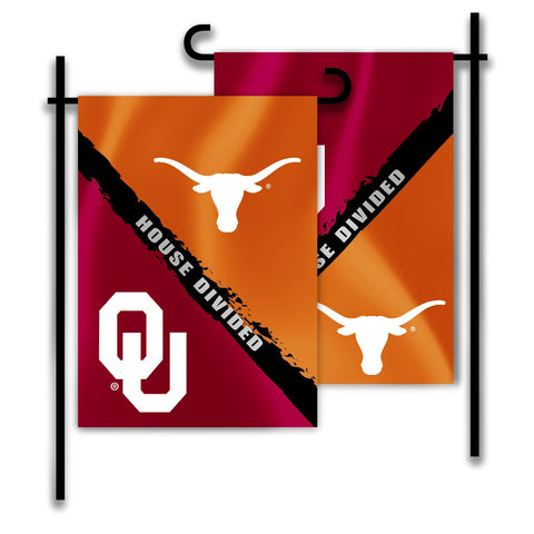 "Oklahoma Sooners Texas Longhorns 13"" x 18"" Two Sided House Divided Garden Flag NCAA"