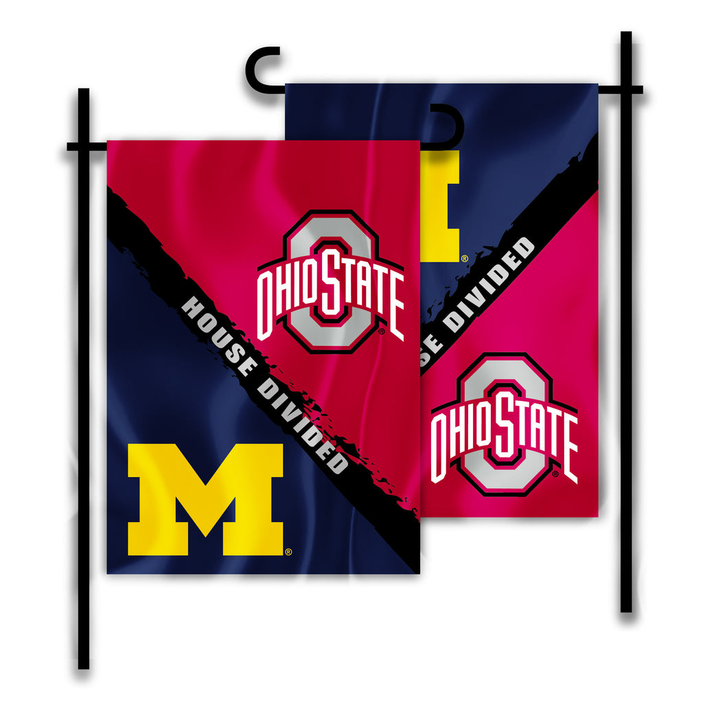"Michigan Wolverines Ohio State Buckeyes 13"" x 18"" Two Sided House Divided Garden Flag NCAA"