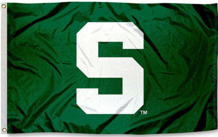 "Michigan State Spartans 3' x 5' Flag (""S"" Logo Only on Green) NCAA"