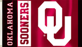 Oklahoma Sooners 3' x 5' Flag (White OU Logo w/ Wordmark) NCAA