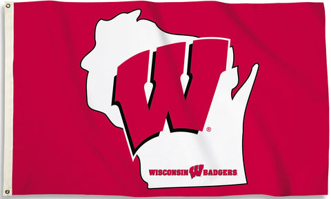 Wisconsin Badgers 3' x 5' Flag (State Outline) NCAA
