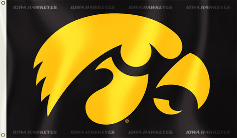 Iowa Hawkeyes 3' x 5' Flag (Logo on Black) NCAA